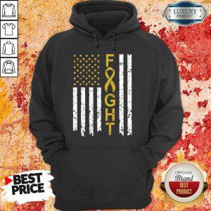 Childhood Cancer Awareness American Flag Hoodie