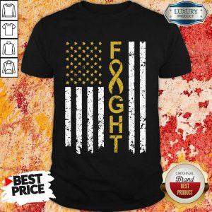 Childhood Cancer Awareness American Flag Shirt