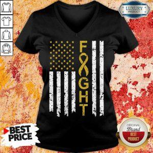 Childhood Cancer Awareness American Flag V-neck