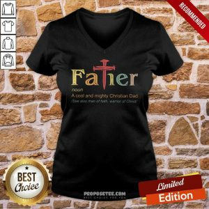 Father A Cool And Mighty Christian Dad Cross V-neck