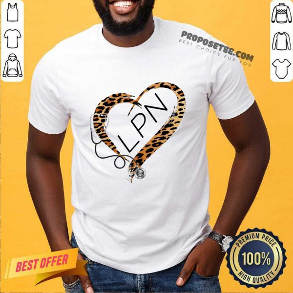 Leopard Heart Frame Medical Stethoscope LPN Shirt
