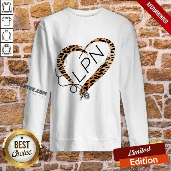 Leopard Heart Frame Medical Stethoscope LPN Sweatshirt