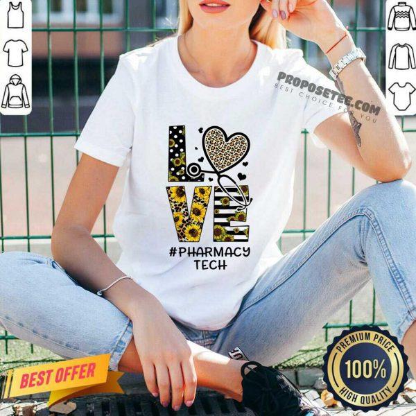 Leopard Sunflower Love Nurse Life Pharmacy Tech V-neck