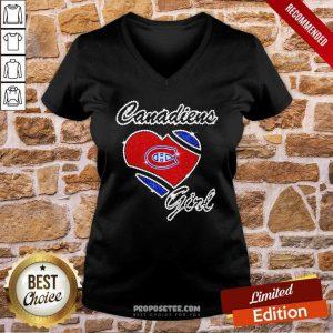Montreal Canadiens Girl Diamond Heart V-neck