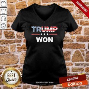 Trump Won 4th Of July American Flag V-neck